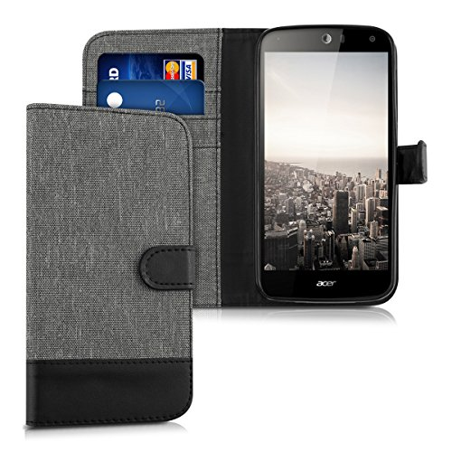 kwmobile Wallet case canvas cover for Acer Liquid Z630 Dual-SIM LTE (5.5) - Flip case with card slot and stand in black grey