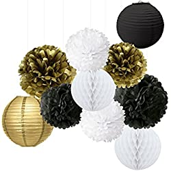 Wcaro Mixed Gold Black White Party Decor Kit Paper lantern Paper Honeycomb Balls Tissue Pom poms Flower Themed Party Hanging Decoration Favor for Birthday,Wedding, Christening,New Year's Eve