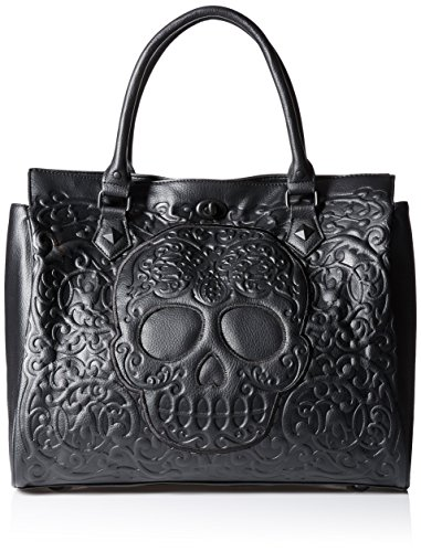 - Loungefly Lattice Skull Tote Shoulder Bag, Black, One Size