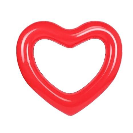 ED-Lumos Flotador Hinchable Grande Forma de Corazón Colchonetas Piscina 111CMx115CM Color Rojo