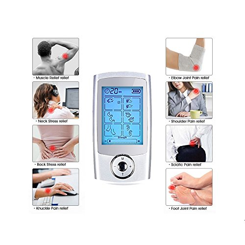 Yimaler Tens Unit Rechargeable Electric Muscle Stimulator with 12 Pads 16 Modes Pulse Impulse Mini Therapy Massager Machine for Pain Relief FDA Approved 2017 Upgrade by Yimaler (Image #7)