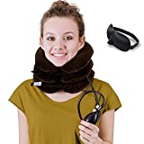 DaviSMART Cervical Neck Traction ✮ Effective Neck Pain Remedy at Home ✮ Inflatable & Adjustable Neck Stretcher Collar Device + Eye Mask Bonus (Brown)