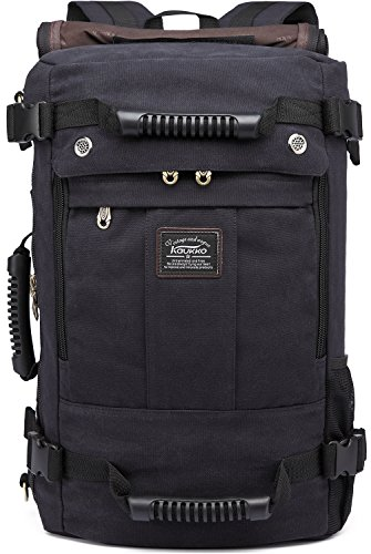 Kaukko Multipurpose Black Color Canvas Tote Shoulder Backpack Bag with Padded Laptop Sleeve Roomy Capacity for Men Travel Hiking Camping