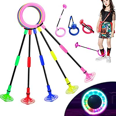 Fine Deal Flashing Jumping Ring Children Colorful Ankle Skip Jump Ropes Sports Swing Ball for Kids Boys Girls Toy (Pink): Sports & Outdoors