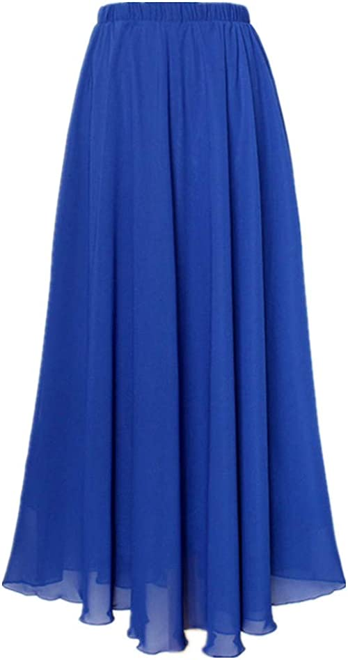 MULLSAN Women Retro Vintage Double Layer Chiffon Pleat Maxi Long Skirt Dress