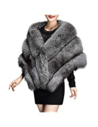 KAMA BRIDAL Women's Luxury Soft Long Faux Fur Shawl Wraps Cloak Coat Wedding Party