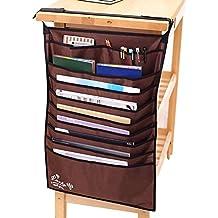 Heavy-duty Home Office School Desk Table Hanging File Book Newspaper Magazine Tidy Organizer Rack Pockets Desktop Display Space-saving Holder Storage Bag,Coffee