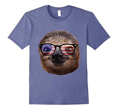 Mens USA America Sloth Patriotic Sunglasses Funny T-Shirt Medium Heather - Sloth Sunglasses