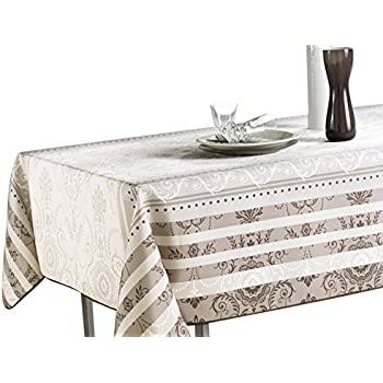 60 X 120 Inch Rectangular Tablecloth Ivory White Brown Baroque, Stain  Resistant, Washable