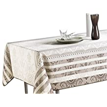 "60 x 120-Inch Rectangular Tablecloth Ivory White Brown Baroque, Stain Resistant, Washable, Liquid Spills bead up, Seats 10 to 12 People (Other Size Available: 63"" Round, 60 x 80"", 60 x 95"")."
