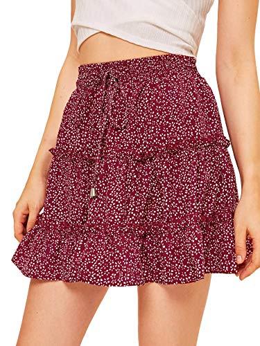 SheIn Women's Summer Boho Floral Print Striped A Line Waist Elastic Short Skirt