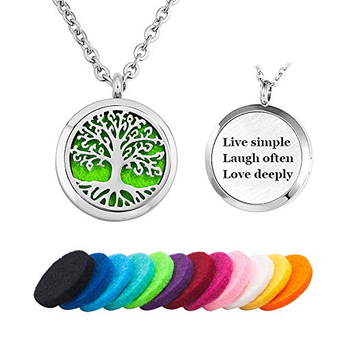 - Moonlight Collection Live Simple Laugh Often Love Deeply Tree of Life Engraved Quote Message Locket Pendant Essential Oil Diffuser Necklace Aromatherapy Jewelry + Refills