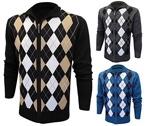 Enimay Mens Argyle Zip Up Golf Long Sleeve Zipper Sweater (Many Colors Available)