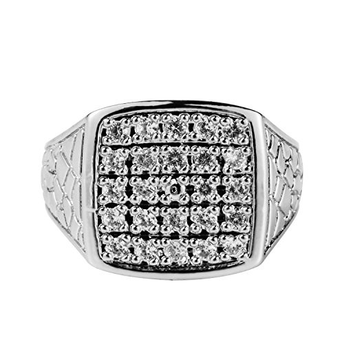 Mandy Hip Hop Men's Rings 14K Gold Plated CZ CRYSTAL Fully Iced-Out Ring Bling Bling (Silver, 8) ()