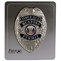 FURY Tactical Shield Concealed Weapons Permit Badge (Silver)