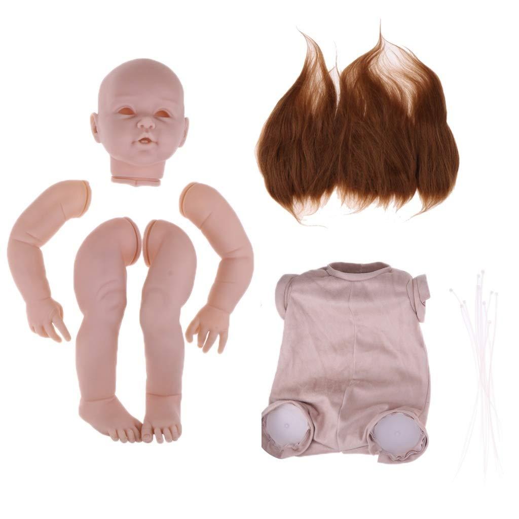 SM SunniMix Real Touch 29inch Reborn Baby Supplies - Silicone Head Limb Mold & Cloth Body & Pure Mohair Hair