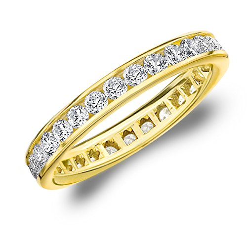 1 Carat Eternity Ring in 10K Yellow Gold, Diamond Eternity Anniversary Wedding Band, Size 7.5 by Eternity Wedding Bands
