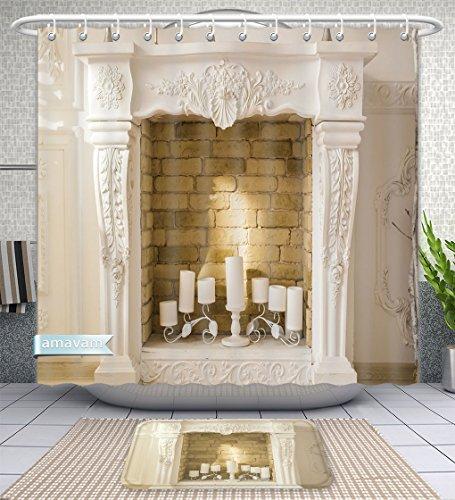 Amavam Juego de 2 Piezas de Chimenea Decorativa con Velas de baño y Alfombrillas de baño, 177,1 cm de Ancho x 22,86 cm de...