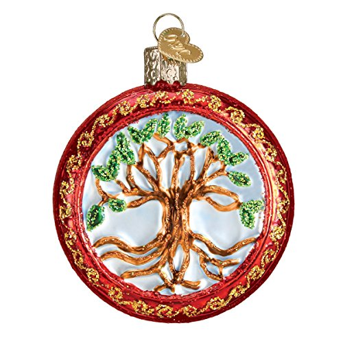 Old World Christmas Glass Blown Ornament with S-Hook and Gift Box, Religious Collection (Tree of Life) ()
