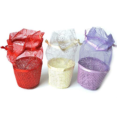 003A Woven Baskets with Organza Sheer Mesh Bag SET of 6 pcs - Small Mini Colored Baskets - Decorations Games Storage and Crafts - Christmas Birthday Halloween Party Supply Baby Shower Favor Bag ()