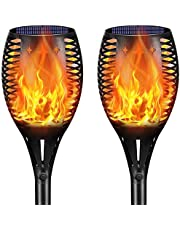 Solar Lights Outdoor, Upgraded Brighter 33 LED Solar Torch Light with Flickering Flame, Waterproof Landscape Lighting Decoration Lights for Patio Pathway Garden - Dusk to Dawn Auto On/Off (2Pack)