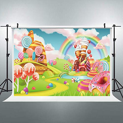 Riyidecor Candyland Lollipop Rainbow Castle Photo Backdrop Cartoon Kids Colorful 5x3ft Ice Cream Cloud Green Lawn Photography Background Artistic Birthday Photo Studio Shoot Backdrop Blush vinyl cloth ()