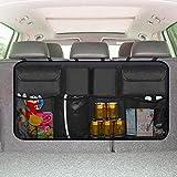 Backseat Trunk Organizer,Car Seat Back Storage,Space Saving with Cargo Net Design 4 Pockets,Bag Back Seat Organizer for Kids, Multipurpose Cargo Accessories SUV & Car Organizer,Black