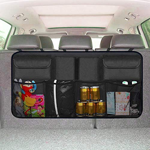 XBRN Trunk Organizer for Car and SUV - Auto Car Backseat Trunk Organizer Storage Bag Van Container Car Organization Collapsible Compartment Pocket Mesh (Black)