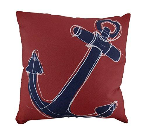Red & Navy Blue Ship Anchor Nautical Throw Pillow