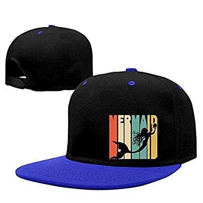 DGJ8GB Unisex Retro Style Mermaid Silhouette3 Hip-Hop Flatbrim Snapback Hats Contrast Color Baseball Caps for Women Men