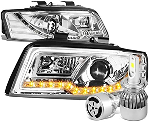 Audi A4/A4 Quattro B6 (tipo 8E par de proyector faro delantero + LED ámbar DRL (cromado vivienda) + 6000 K LED blanco w/ventilador