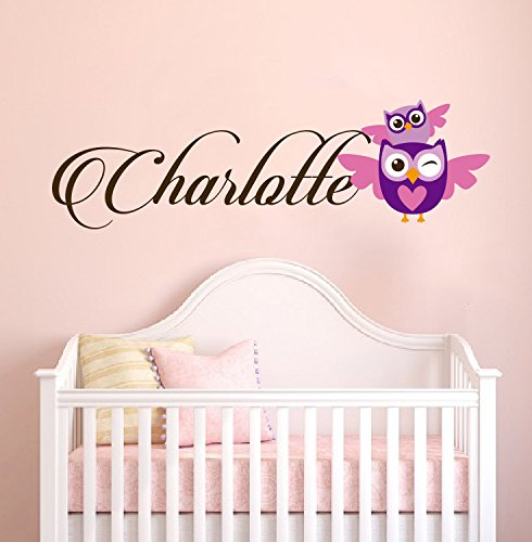 Personalized Name Owl Animal Series - Baby Girl - Wall Decal Nursery For Home Bedroom Children(781) (Wide 32''x 8'' Height) by cryptonite