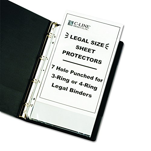 Size Sheet Protectors Legal - C-Line Top Loading Heavyweight Poly Sheet Protectors, Clear, Legal Size, 14 x 8.5 Inches, 50 per Box (62047)