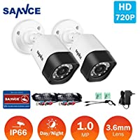 SANNCE 2 pack 1.0MP 1/4 color CMOS Sensor 720P AHD / 1280TVL Surveillance Camera, IP66 Weatherproof In/Outdoor Fixed Bullet CCTV Camera for Home Security System