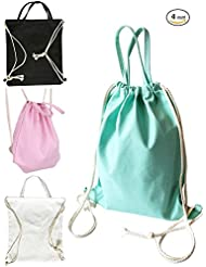 iToolai Canvas Drawstring Backpack Bag Women Girls Tote for Sports Travel Beach