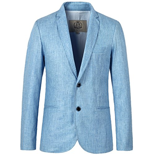 E-artist Mens Slim Fit Dress Suit Casual Linen Blazer Jacket Coat X06 Blue 2XL