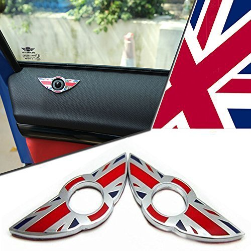 iJDMTOY (2) Union Jack Style Wing Emblem Rings For MINI Cooper R55 R56 R57 R58 R59 Door Lock Knobs, Red/Blue UK Flag Design (Does not fit R60 R61 nor F55 F56 models) -