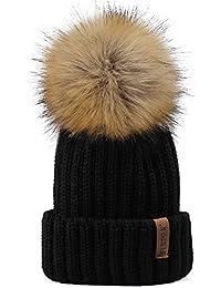 Kids Winter Knitted Faux Fur Pom Pom Cap Toddler Boys...