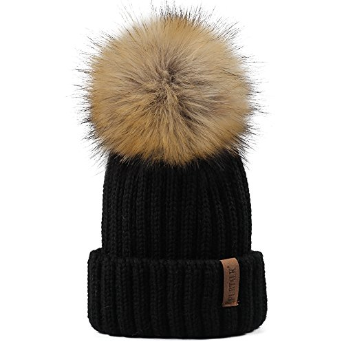 Kids Winter Knitted Pom Beanie Bobble Hat Faux Fur Ball Pom Pom Cap Unisex Kids Beanie Hat,Black,One (Childs Ball Cap)