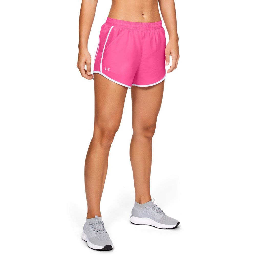 Under Armour womens Fly By Running Shorts, Mojo Pink (641)/Reflective, X-Large