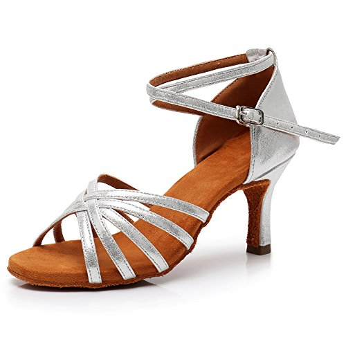 SWDZM LP213 7cm Latino da Ballroom Tacco Model Ballo Standard Scarpe Donna Argento q6U8rq