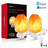 2 Pack Himalayan Salt Lamp Night Light, Hand Craved Natural Salt Rock, ETL Certified Wall Plug with E12 Base, Amber White Light for Ambiance Lighting, Decoration, Yoga, Air Purifying