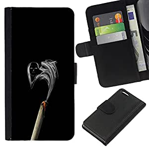 KLONGSHOP // Tirón de la caja Cartera de cuero con ranuras para tarjetas - Cara de Humo - Apple Iphone 5C //