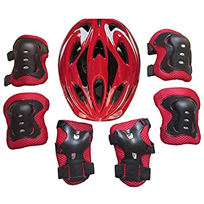 YIFAN 7Piece Kids Helmet, Bike Bicycle Helmet, Ice Skates Balance Car Protective Gear Set(Knee Elbow Pads Wrist Guards) for 5-13 Year-Old Children - Red : Sports & Outdoors