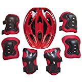 CT-Tribe Protective Gear Set, 7pcs Children Protective Gear Helmet Knee Elbow Wrist Pads for Skateboard, Biking, Riding, Cycling and Multi Sports 6-13 years old
