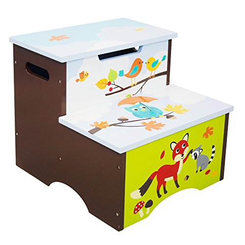 Fantasy Fields - Enchanted Woodland Thematic Kids Wooden Step Stool with Storage | Imagination Inspiring Hand Crafted & Hand Painted Details | Non-Toxic, Lead Free Water-based Paint (Teamson Painted Vanity)