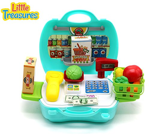 Little Treasures Travel Grocery 19 pcs Play Set with Pretend & Play Toy Money and Food Featuring Carry Basket and Detachable Sides and Scale