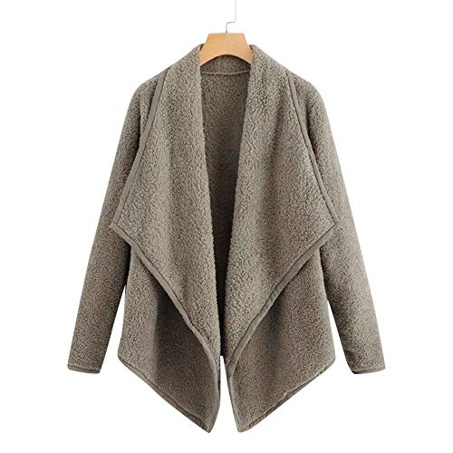 - JESPER Women Winter Warm Wool Waterfall Collar Cotton Cardigan Coat Asymmetric Hem Outwear Army Green
