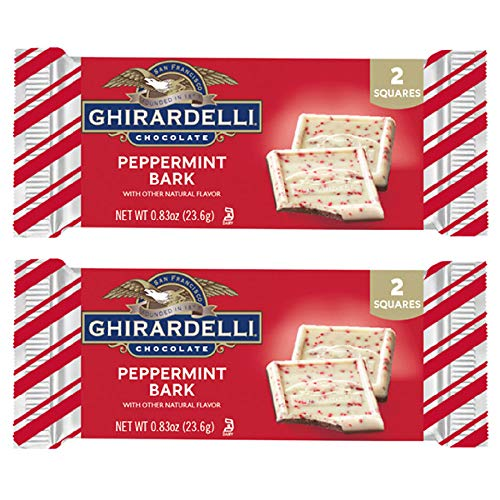 Ghirardelli (2) Bars Peppermint Bark Candy Bars - Natural Flavors - 2 Individually Wrapped Squares per Box - Holiday & Christmas Candy - Net Wt. 0.83 oz each