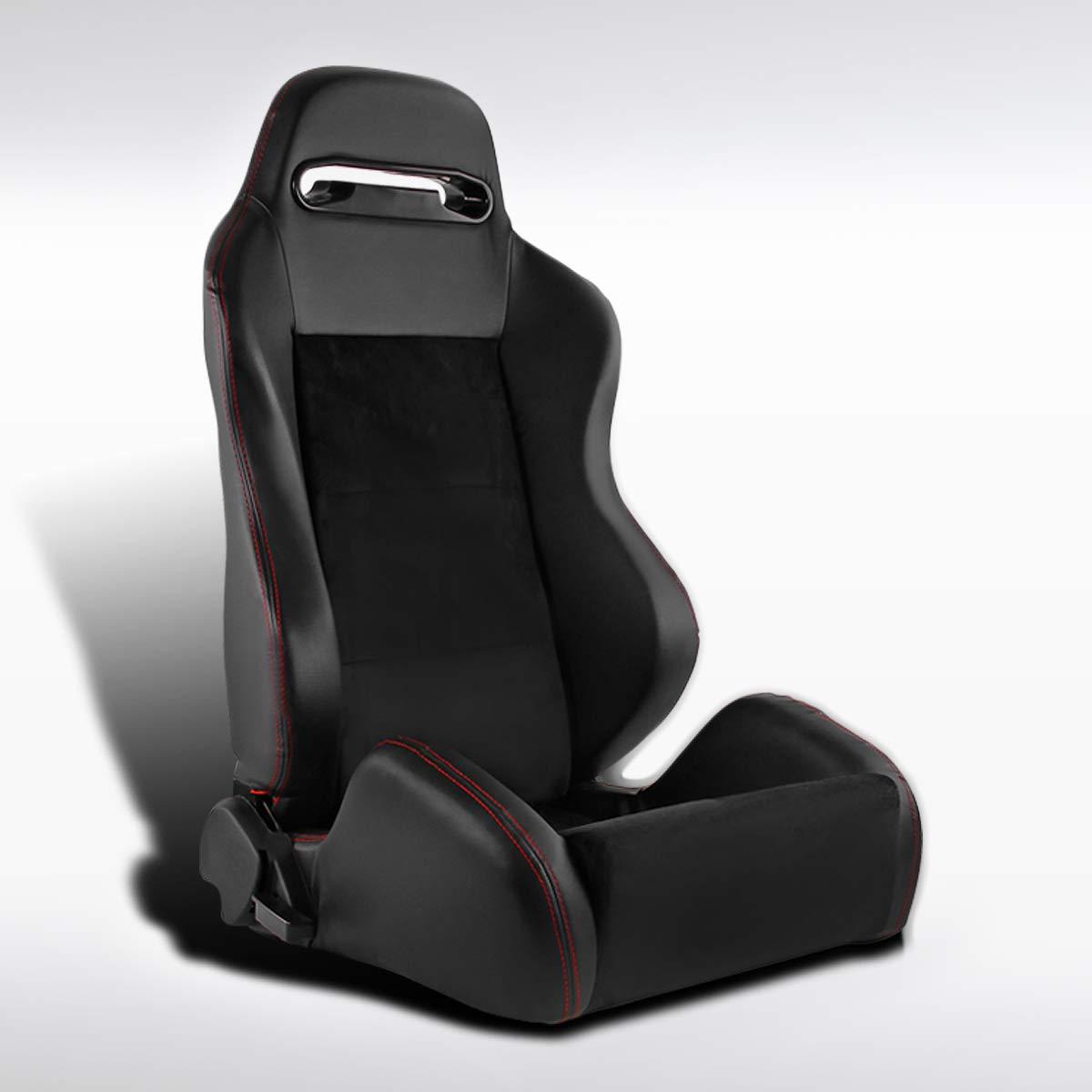 Autozensation Right Passenger Reclining Sport Racing Seat PVC Leather Black//Red Cloth W//Slider